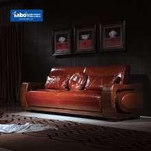 雅宝家具 客厅单人实木沙发 双人皮艺沙发 3人位新中式皮沙发