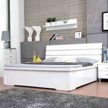 雅宝家具 亮光烤漆板式床 1.8米双人床 1.5m简约高箱床带储物空间