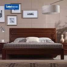 雅宝家具 实木床1.8米现代新中式简约榆木双人床 卧室低箱床婚床