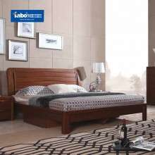 雅宝家具 现代中式实木双人床榆木低箱床 1.8m卧室大床原木色婚床