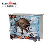 乐家巢 原装进口实木彩绘柜 象样生活三斗柜 个性时尚客厅玄关柜