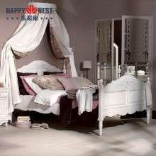 乐家巢白色实木床简约欧式公主床 1.5米法式双人床雕花做旧简易床