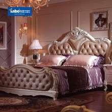 雅宝家具法式新古典实木床 1.8米真皮双人床 低箱床床头柜组合