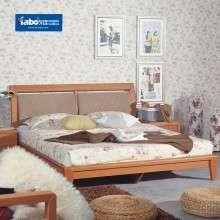 雅宝家具红樱桃色低箱床 卧室实木双人床 1.8米大床1.5m实木床