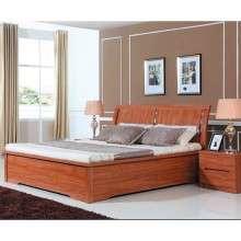 雅宝家具简约现代板式床 1.5米双人床1.8m低箱床 卧室斜靠背大床