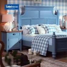 雅宝家具美式乡村实木床 简约床头柜组合 1.8米双人床1.5m低箱床