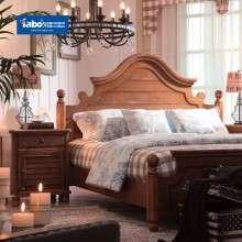 雅宝家具美式乡村原木色低箱床床头柜组合 卧室实木床双人床1.8米