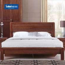 雅宝卧室家具实木双人床 1.8米现代中式低箱床 榆木床头柜组合