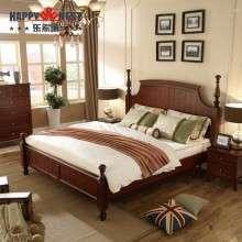 乐家巢家具 简美实木双人床美式橡胶木1.8米大床现代卧室环保婚床