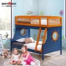 乐家巢家具 双层床儿童床地中海高低子母床实木上下铺床男女床