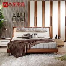 a家家具 简易现代板式床1.8米1.5时尚卧室储物婚床简约单人双人床