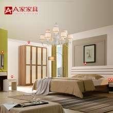a家家具 简约现代卧室成套家具组合实木衣柜床头柜婚房双人床套装