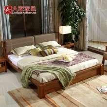 a家家具 简约现代橡木床实木床1.8米简易中式双人床卧室婚床组合
