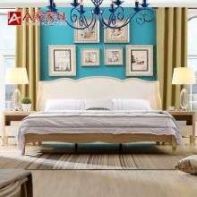 a家家具 欧式床简约现代实木床白蜡木双人床1.8米原木色卧室婚床
