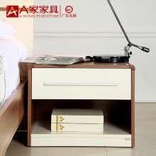 A家家具 实木床头柜简约现代白色百搭地柜收纳柜带抽屉卧室储物柜