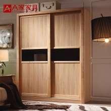 A家家具 现代简约两门实木衣柜立柜卧室开门大衣橱移门衣柜含内柜
