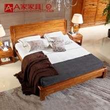 a家家具 现代新中式纯实木床1.8米1.5简约床双人床原木色全实木床