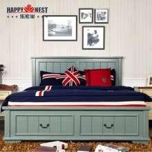 乐家巢家具地中海高箱实木双人1.5米浅蓝色床可储物卧室床新品