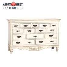 乐家巢家具进口家具做旧白色斗柜十四抽边柜 卧室带雕花收纳柜