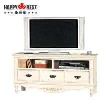 乐家巢家具进口家具做旧电视柜原装进口 白色客厅三抽地柜 欧式