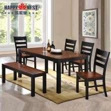 乐家巢家具美式餐桌椅组合6人简约小户型餐桌一桌四椅带条凳进口