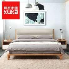 顾家家居 软床1.8米双人北欧实木卧室家具现代简约主卧真皮床