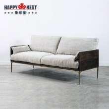 乐家巢家具原装进口北欧现代风格实木布艺沙发铁艺三人位沙发