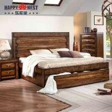 乐家巢全实木双人床东南亚风格1.8米床床头柜美式乡村床原装进口