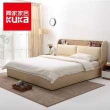 顾家家居储物床1.8米双人主卧真皮现代多功能卧室家具实木皮床119