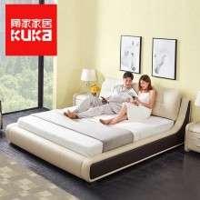 顾家家居婚床真皮床双人床1.8米主卧现代简约卧室家具欧式皮床