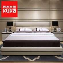 顾家家居真皮床1.8米双人主卧皮艺现代简约卧室家具经济型皮床