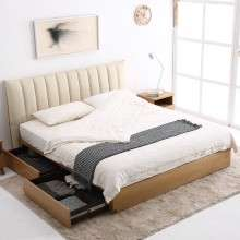 顾家家居真皮床1.8米双人主卧现代简约卧室家具储物实木皮床B128