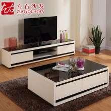 左右茶几电视柜 简约现代客厅家具组合 钢化玻璃茶几DJW005A+D