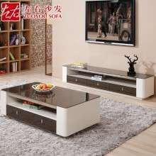 左右茶几电视柜 现代钢化玻璃 储物茶几简约客厅电视柜DJW012A+D