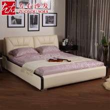 左右皮床现代婚床1.8米真皮床双人床1.5米软床欧式床皮艺床DR010