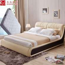 左右现代头层真皮床1.8米软床大小户型皮艺床婚床双人床组合DR018