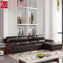 左右现代中式真皮沙发  组合转角大户型客厅头层牛皮沙发DZY2606