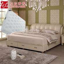 左右真皮床1.8米双人床皮艺软床现代婚床卧室床垫组合套装DR024