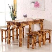 碳化木家具 实木家具 实木餐桌椅 饭店餐桌椅 小吃店快餐店桌子 仿古快餐桌