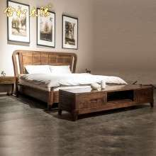 【合和木缘】家具简约现代卧室床黑胡桃家具双人床GY-HA20