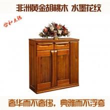 黄金胡桃木 实木家具 开门双抽鞋柜 储物柜 胡桃木家具