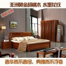 实木床1.81.5高箱储物床 胡桃木实木家具GY-B8601