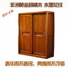 实木衣柜推拉门 移门衣柜 纯实木简欧式衣柜 胡桃木衣柜