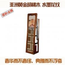全实木胡桃楸木穿衣镜换衣镜 简约欧式家具 木质落地镜