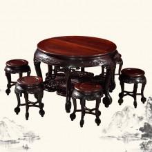 东非酸枝两拼大圆桌实木雕刻明清古典宫廷仿古组合单卖