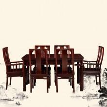 南美酸枝祥云餐桌实木雕刻明清古典宫廷仿古组合单卖