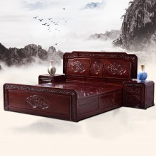 非洲酸枝荷花实木大床实木雕刻明清古典宫廷仿古