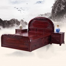 南美酸枝花开富贵大床实木雕刻明清古典宫廷仿古