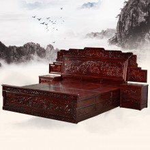 南美酸枝百子大床实木雕刻明清古典宫廷仿古