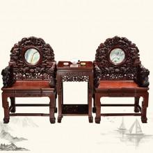东非酸枝雕狮太师椅实木雕刻明清古典仿古宫廷组合单卖